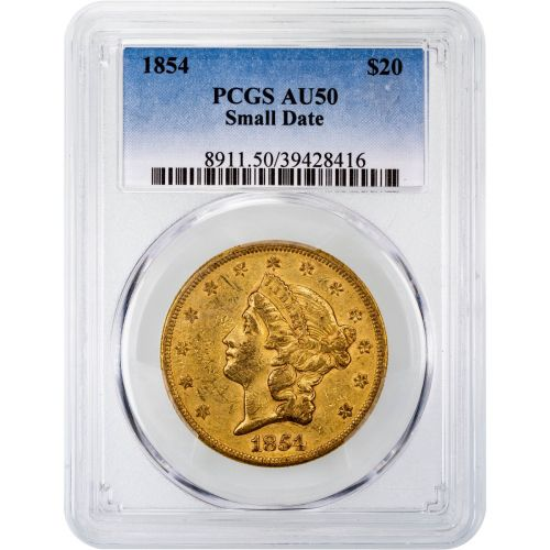 1854-P Liberty Head Gold Double Eagle AU50 Small Date