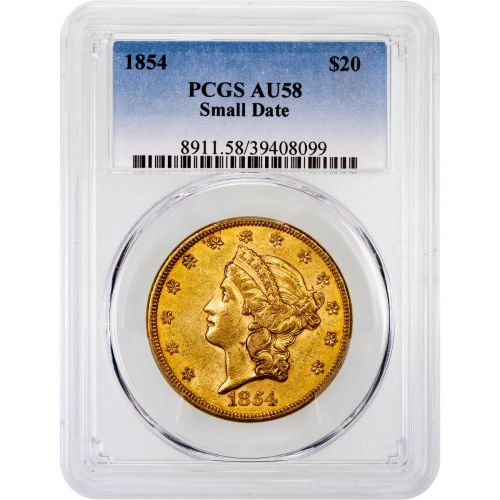 1854-P Liberty Head Double Eagle AU58 Small Date