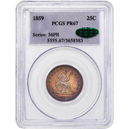 1859-P Seated Liberty Quarter Dollar PR67 CAC