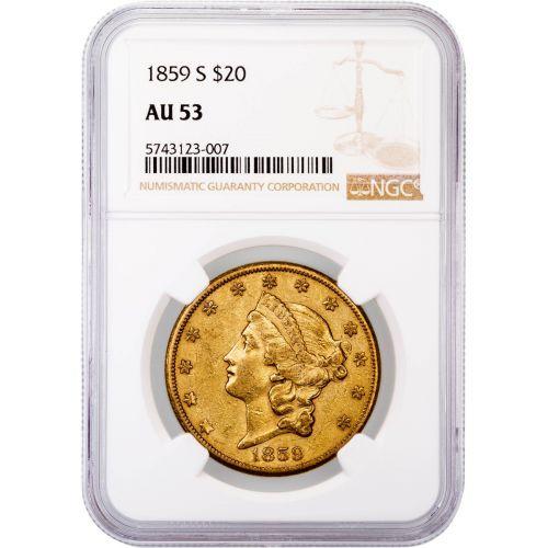 1859-S Liberty Head Gold Double Eagle AU53