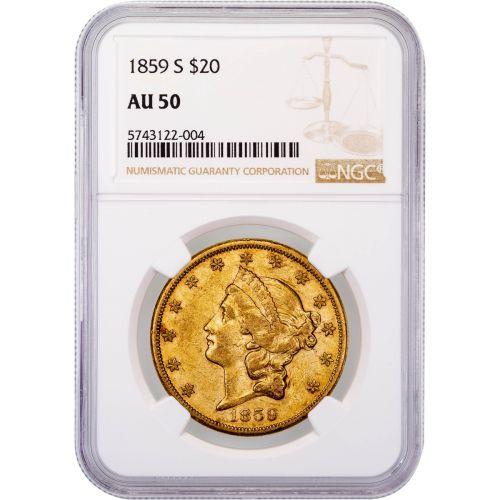1859-S Liberty Head Gold Double Eagle AU50