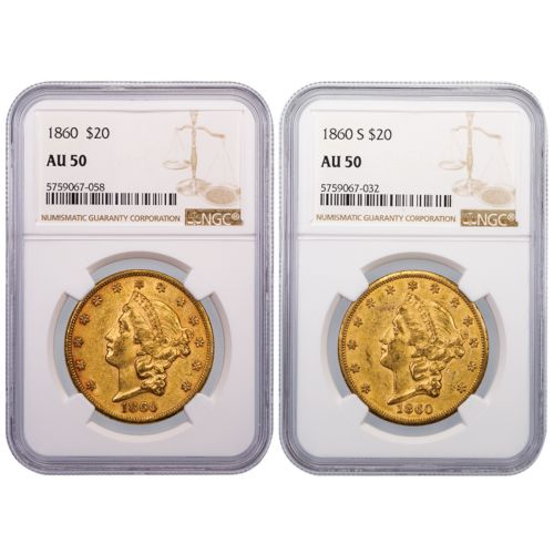Set of 2: 1860-P & 1860-S Type 1 Liberty Head Gold Double