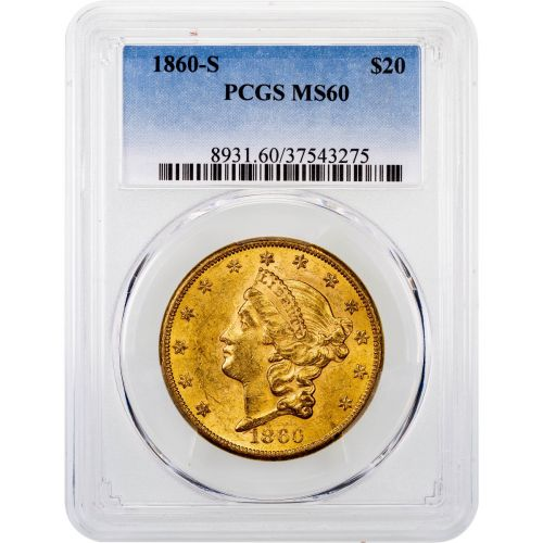 1860-S Liberty Head Gold Double Eagle MS60