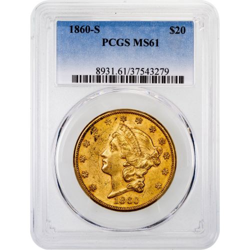 1860-S Liberty Head Gold Double Eagle MS61