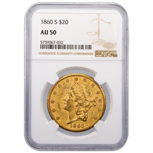 1860-S Type 1 Liberty Head Gold Double Eagle AU50