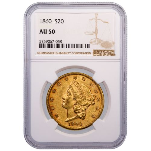 1860-P Type 1 Liberty Head Gold Double Eagle AU50