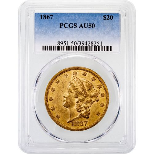 1867-P Liberty Head Gold Double Eagle AU50