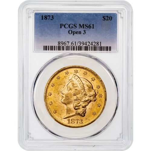 1873-P Type 2 Open 3 Liberty Head Gold Double Eagle MS61