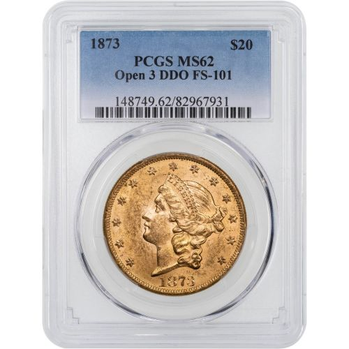 1873-P Open 3 Double Die Obverse Liberty Head Gold Double Eagle PCGS MS62