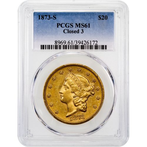 1873-S Type 2 Closed 3 Liberty Head Double Eagle PCGS MS61