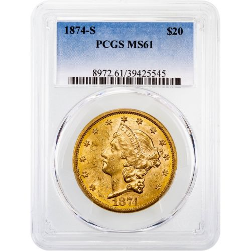 1874-S Liberty Head Gold Double Eagle MS61