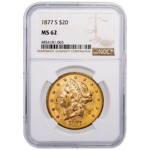 1877-S Liberty Head Gold Double Eagle MS62