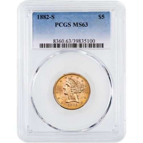 1882-S Liberty Head Gold Half Eagle MS63