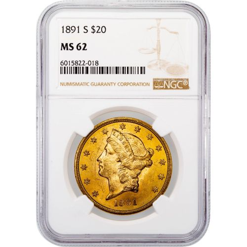 1891-S Liberty Head Gold Double Eagle MS62