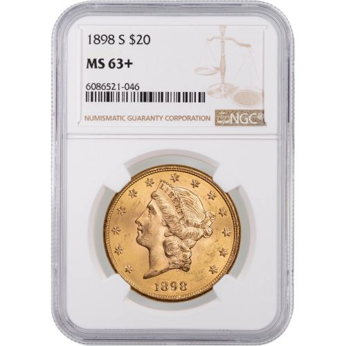 1898-S Liberty Head Gold Double Eagle MS63+