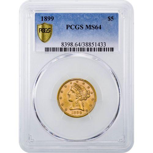 1899-P Liberty Head Gold Half Eagle MS64