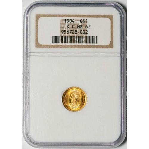 G$1 1904-P Lewis & Clark Gold Dollar NGC MS67