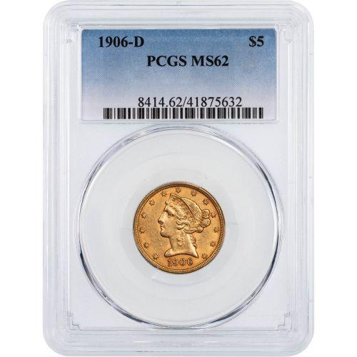 1906-D Liberty Head Gold Half Eagle MS62
