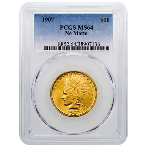 1907-P Indian Head Gold Eagle No Motto MS64