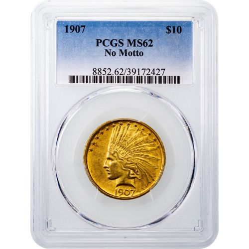 1907-P Indian Head Gold Eagle No Motto MS62