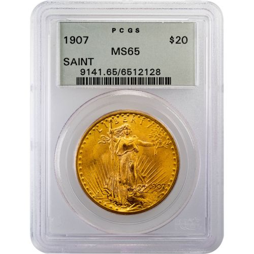 1907 No Motto Saint Gaudens Gold Double Eagle MS65