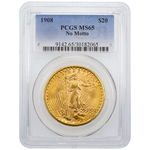 1908-P No Motto Saint-Gaudens Gold Double Eagle MS65
