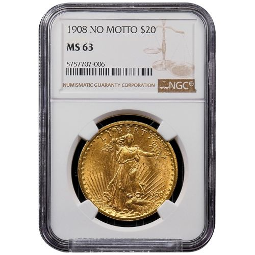 1908-P No Motto Saint-Gaudens Gold Double Eagle MS63