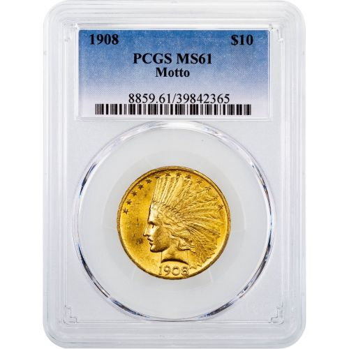 1908-P With Motto Indian Head Gold Eagle MS61