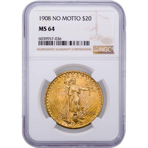 1908-P No Motto Saint-Gaudens Double Eagle MS64