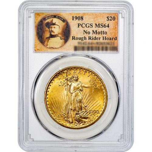 1908-P No Motto St. Gaudens Gold Double Eagle MS64