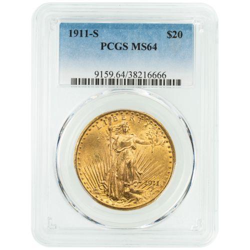 1911-S Saint Gaudens Gold Double Eagle MS64