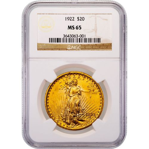 1922-P Saint-Gaudens Gold Double Eagle MS65