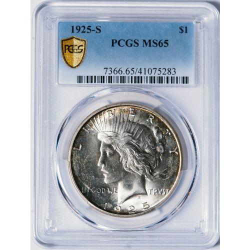 1925-S Peace Dollar PCGS MS65