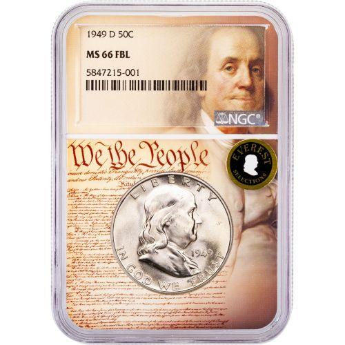 1949-D Franklin Half Dollar MS66 FBL Everest We The People Collection Label