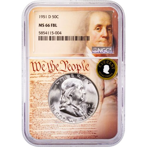 1951-D Franklin Half Dollar MS66 FBL Everest We The People Collection Label