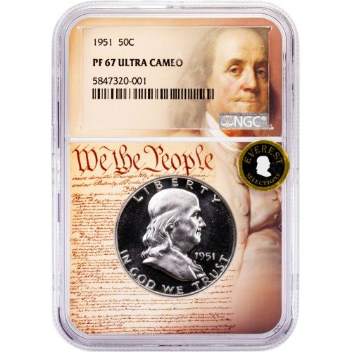 1951-P Franklin Half Dollar PF67 Ultra Cameo Everest We The People Collection Label