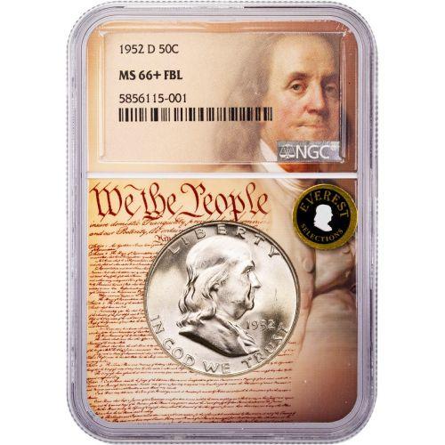1952-D Franklin Half Dollar MS66+ FBL Everest We The People Collection Label