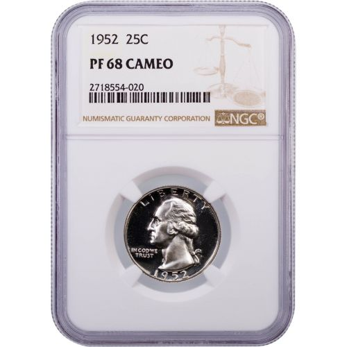 1952 Washington Quarter NGC PF68 Cameo