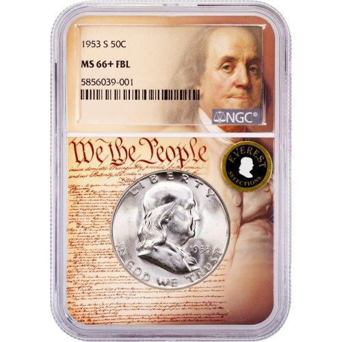 1953-S Franklin Half Dollar MS66+ FBL Everest We The People Collection Label