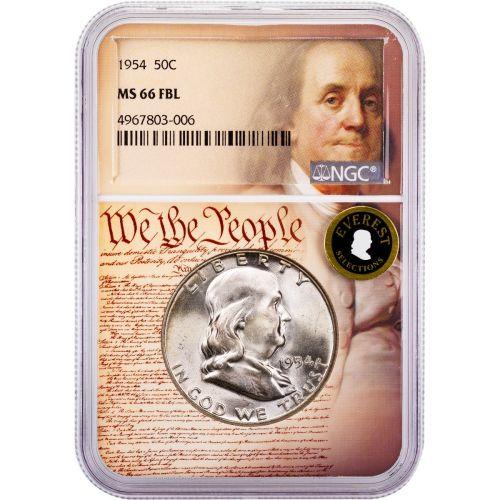 1954-P Franklin Half Dollar MS66 FBL Everest We The People Collection Label