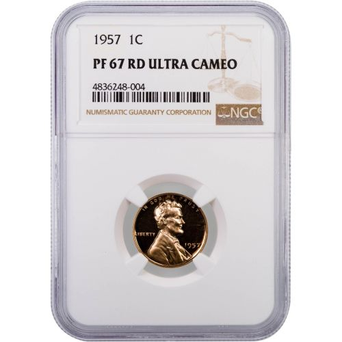 1957 Lincoln Cent NGC PF67RD UCAM