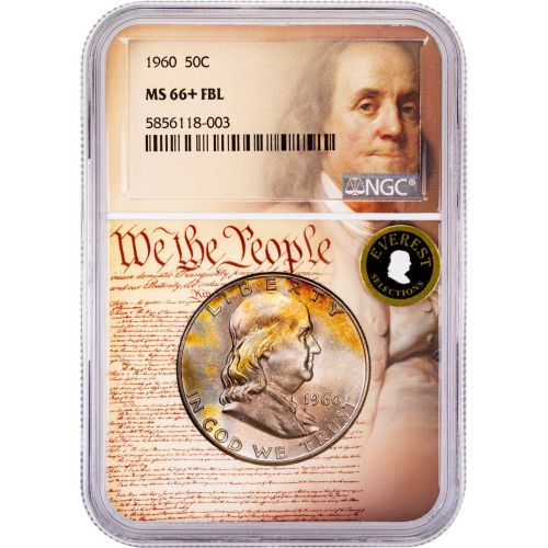 1960-P Franklin Half Dollar MS66+ FBL Everest We The People Collection Label