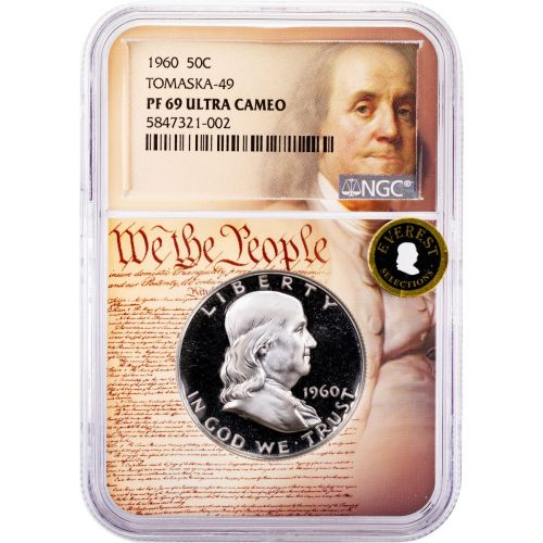 1960-P Franklin Half Dollar Tomaska-49 PF69 Ultra Cameo Everest We The People Collection Label