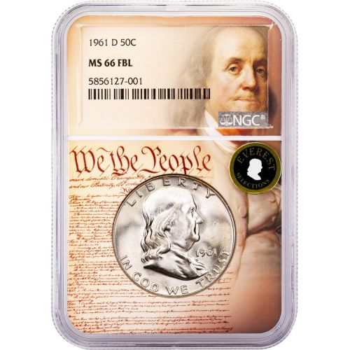 1961-D Franklin Half Dollar MS66 FBL Everest We The People Collection Label