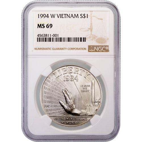 1994-W Vietnam Veterans Memorial Commemorative Silver Dollar MS69