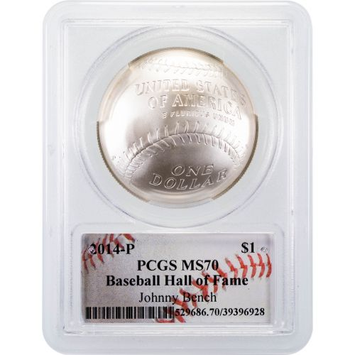 2014 Johnny Bench Baseball Hall of Fame Silver Commemorative Dollar MS70