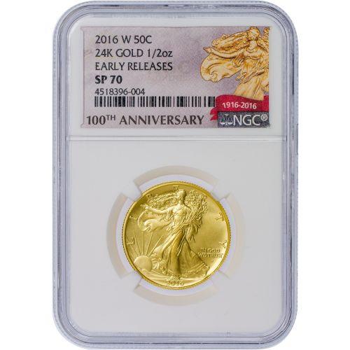 2016-W 1/2 oz 24K Gold Walking Liberty Half Dollar NGC SP70