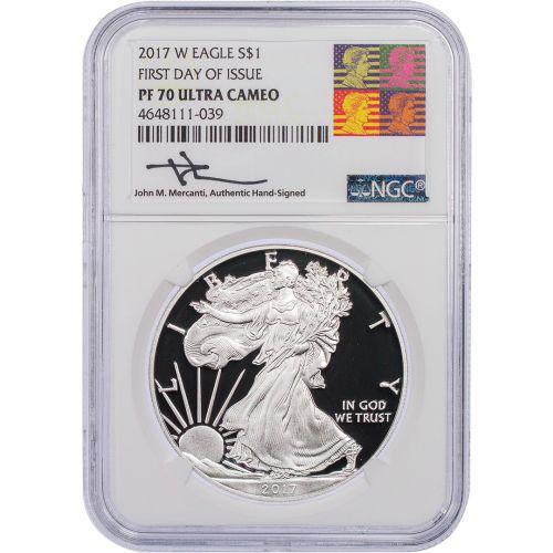 2017-W American Silver Eagle FDOI PF70 UCAM Reagan Mercanti Label