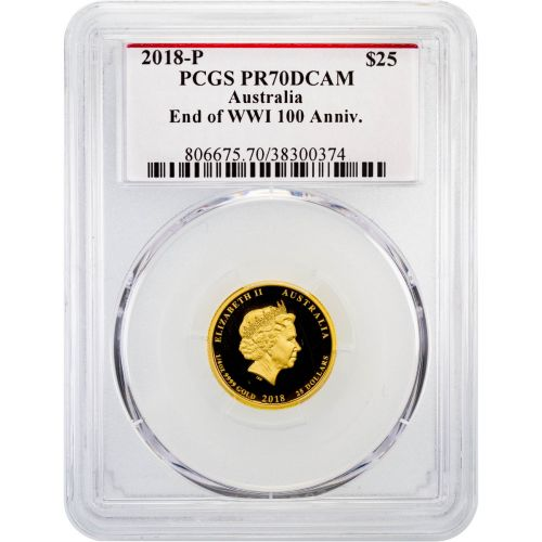 $25 2018 Gold 1/4oz Australia End of WWI 100th Anniversary PR70 Deep Cameo