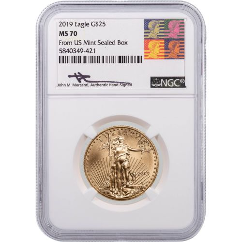 $25 2019 1/2oz American Gold Eagle NGC MS70 Reagan Mercanti Label